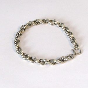Beautiful Sterling Silver Rope Bracelet 7 1/2""